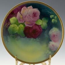 """LIMOGES ANTIQUES HAND PAINTED ROSES PLATE SIGNED """"A. BROUSSILLON"""""""
