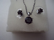 Thai Black Spinel 8mm and 5mm stainless steel necklace and earrings set DAD-5253