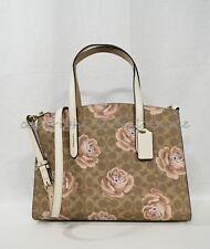 Coach 31667 Charlie Carryall In Signature Rose Print Satchel/Shoulder Bag in Tan
