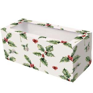Christmas Yule Log Box 12x5x5 inch new vintage holly design 20 Pack