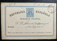 1875 Sevilla Spain Postal Stationery Postcard Cover To Malaga