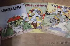 3 Vintage Children's Books Illus. by Eulalie--TOM THUMB, CHICKEN LITTLE, PUSS