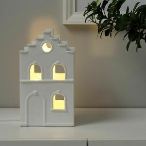 STRÅLA LED table decoration, house white - IKEA