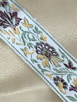 Vintage Ribbon Fragment Embroidered Trim Victorian Tapestry Style Old
