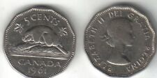 Canadian 1961 nickel beaver Queen Elizabeth II Canada 5 cent coin