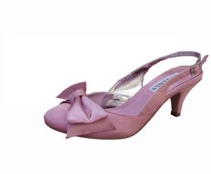 Ladies Wedding Party Low Heel Shoe Evening Shoes Diamante Pale Pink Satin NEW