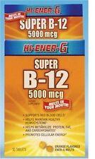 3 Pack Hi-Ener-G Super B-12 Orange Melts 5000 mcg 30 Tablets Each