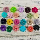 120PCS Chiffon Flower Rhinestones And Pearls For Headbands Hair Accessories DIY