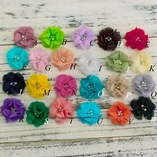 120PCS Chiffon Flower+Rhinestones And Pearls For Headbands Hair Accessories DIY