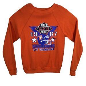 VTG 1987 Denver Broncos Super Bowl XXII Sweatshirt Size Medium Orange Elway NFL