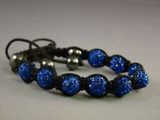 Crystal Shamballa Bracelet 9 Disco Clay Balls 10mm Adjustable, **UK Stock **Fast