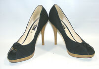 Rue 21 Women Black Size 7 M Canvas Platform Peep Toe Stiletto Heels Shoes