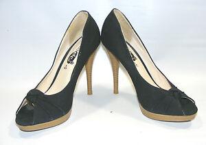 Rue 21 Women Black Size 7 M Canvas Platform Peep Toe Stiletto Heels Shoes