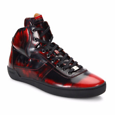 BALLY EROY FUME RED BRUSHED CALFSKIN LEATHER HIGH TOP SNEAKERS SIZE US 12