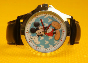 "Men's MICKEY MOUSE ""MCKAQ16096"" Jumbo Quartz Watch Leather Band <VGU>"