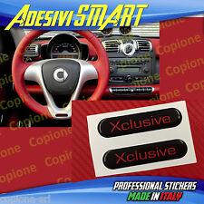 2 Adesivi Resinato Sticker 3D BRABUS Xclusive SMART Nero & Rosso Volante