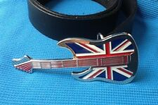 RETRO CLASSIC BRITISH ROCK GUITAR UNION JACK FLAG MUSIC BUCKLE LEATHER BELT