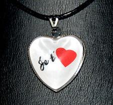 """collier pendentif coeur de verre """"Je t'aime"""" cadeau st-valentin"""