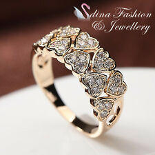 18K Rose Gold Plated Simulated Diamonds Eternal 10 Hearts Shaped Band Ring