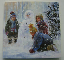 10 CHRISTMAS CARDS WITH ENVELOPES. High Quality. 'Build A Snowman'  Cute