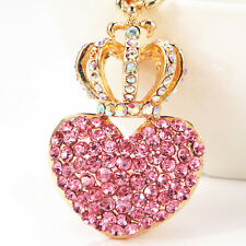 Pink Heart Crystal Key Ring Chain Bag Purse Keychain Charm Pendant Gift Diamond