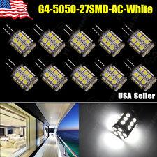 10 Pcs Super Bright Pure White G4 Pin 27 SMD LED 5050 360 Degree 12V AC/DC 450LM