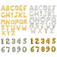"16"" Letter & Number Foil Balloons Birthday Wedding Party Decor Gold Silver"