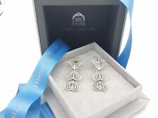 New Federico Buccellati Sterling Silver Triple Heart Drop Chain Link Earrings