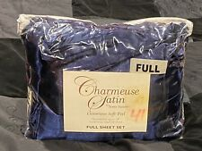CHARMEUSE SATIN by Scent-Sation. Navy blue satin sheet Set And 2 Pillowcases.