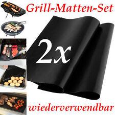 2er Set Grill Matten BBQ Teflon Matten Set 33 x 40 cm Grillen wiederverwendbar