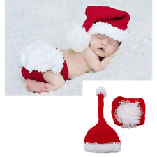 Newborn Baby Boy&Girl Crochet Knitted Christmas Santa Costume Hat Outfit Clothes