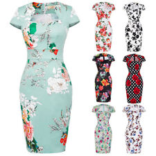 New Ladies Women Floral 50s Vintage Retro Up Cocktail Party Wiggle Pencil Dress