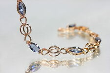 6 x  Marquise Cut Created Sapphire Bracelet 16.5 - 19cm / 6.49 - 7.48 inches