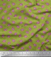Soimoi Green Cotton Poplin Fabric Monster Lips & Teeth Face Decor-dUY