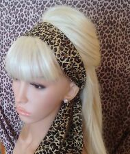 BROWN LEOPARD ANIMAL PRINT COTTON FABRIC HEAD SCARF HAIR BAND SELF TIE BOW RETRO