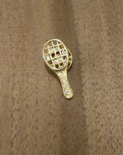 Gold Toned Rhinestone Tennis Racket Pin Brooch Tie Tack Lapel Pin