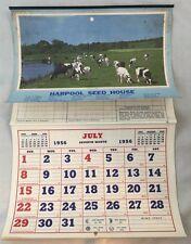 1956 Rare Advertising Calendar Harpool Seed House Denton Texas Cattle Livestock