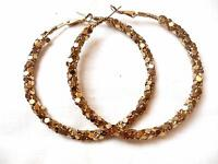 "Vintage Large Gold Tone Braided Pierced Earrings 2-1/2"""