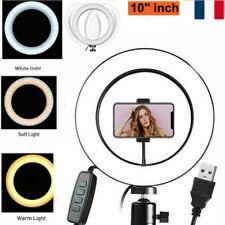 """10"""" Lumière Anneau Ring Lampe LED Caméra Photo Vidéo Réglable d'Eclairage FR"""