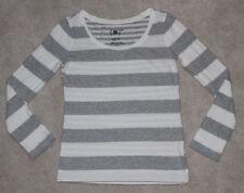 Gap Product (RED) Women's White Gray Striped Long Sleeve T-Shirt XS Pima Cotton