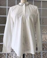 EQUIPMENT FEMME Women's White Button Down Blouse Top Studded Collar Long Slv  S