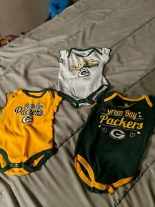 Green Bay Packers One Piece sz 3/6 Months ( 3 )