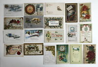 LOT OF 19 NEW YEAR GREETINGS ANTIQUE  POSTCARDS