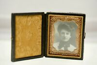 Antique Picture Frame Folding w Leather Embossed Cover Velvet Liner Table top