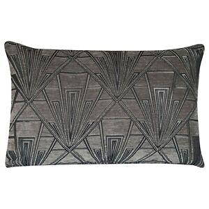 Art Deco Cushion. Luxury Velvet Chenille. Grey and Silver Geometric Design.