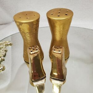 Vintage Gold Tone Etched Roses and Small Gold Salt & Pepper Shakers - 2 Pair