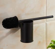 New Wall Mounted Black Stainless Steel Toilet Brush+ Holder Bathroom Cleaner Kit