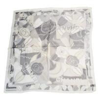 Authentic CHANEL CC Logo Camellia Scarf Handkerchief 100% Silk Gray 07MC658