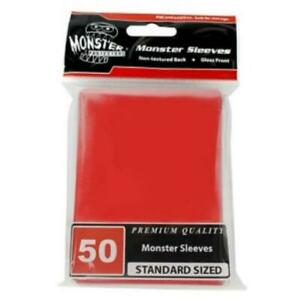 Monster Protectors Card Sleeves Standard CCG Size - Gloss Red (50) New