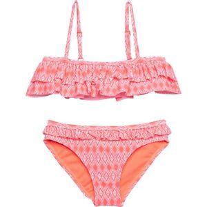 ROXY Toddler Girl's 2 Pc Pink Neon Coral Flutter Bikini Swimsuit Set 2/3/4/5